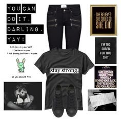 """""""1 month clean!! Stay strong, darling <3 ~Ana (bta)"""" by lukeimbatman ❤ liked on Polyvore featuring art, clean, depression, believe, selfharm and 1month"""