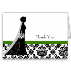 Damask Bridal Shower Thank You Greeting Cards