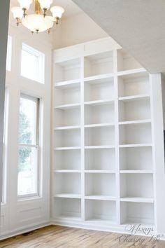 Super tall built-in bookshelves.   http://sawdustdiaries.com