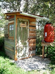 Almost entirely salvaged materials for our Potty Shack - composting outhouse. Outside Toilet, Outdoor Toilet, Outdoor Baths, Outdoor Bathrooms, Outdoor Rooms, Outdoor Life, Outdoor Living, Building An Outhouse, Outhouse Bathroom