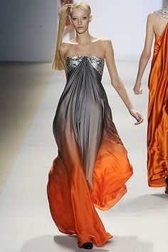 If Katniss Everdeen is the Girl on Fire, this model is The Girl Who Looks Like She's On Fire! (Naheem Kahn runway show)