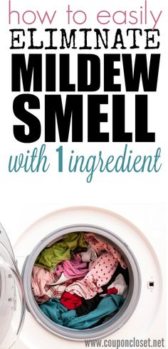 How to Get Rid of Mildew Smell with just 1 ingredient! Add this one ingredient to your wash and that old smell will be gone! This works great with clothes and towels too!
