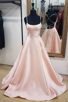 Blush Pink Simple Satin A-line Spaghetti Straps Cross Back Prom Dress – Simidress #CheapPromDresses #EeveningGowns #PromDressesLong #FormalDresses #LacePromDresses #PromGowns #BallGowns #PromDressesMermaid #PromDressShort #PartyDresses #EveningDresses #PromDresses