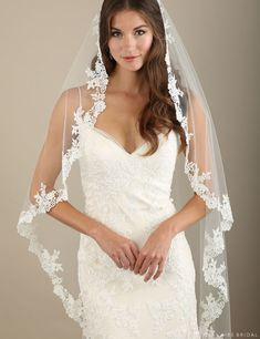 Romantic Wedding Veils to Take Your Breath Away! For many brides, wedding dresses are always the first priority of the whole wedding planning. But your bridal look will not complete without a romantic wedding veil. To make a good balance with your wedding Wedding Gowns With Sleeves, Wedding Dress With Veil, Wedding Dresses For Sale, Modest Wedding Dresses, Designer Wedding Dresses, Vintage Wedding Veils, Vintage Weddings, Lace Weddings, Romantic Weddings