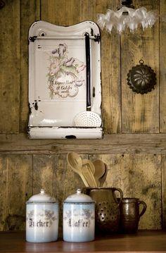 Vintage kitchen enamelware.