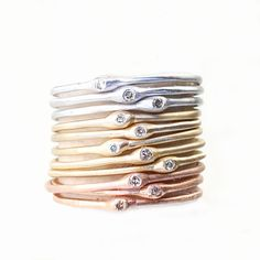 Delicate Diamond Ring Stacking Ring Slim Band Midi Ring by NIXIN