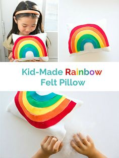 Make a cute and easy felt rainbow pillow with the kids!