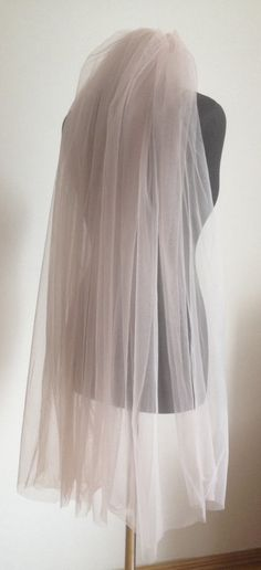 Powder Blush Pink Wedding veil Cathedral colorful by LuxuriaFata