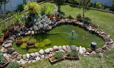 Not so small pond Water Features In The Garden, Garden Features, Ideas Estanque, Fish Pond Gardens, Garden Pond Design, Goldfish Pond, Lake Garden, Patio Layout, Small Ponds