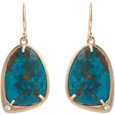 Chrysocolla Elongated Shell Earrings ($700) ❤ liked on Polyvore featuring jewelry, earrings, shell jewelry, seashell jewelry, seashell earrings, sea shell jewelry and shell earrings