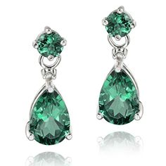 Shop for Glitzy Rocks Sterling Silver Created Green Quartz and Diamond Earrings. Get free delivery On EVERYTHING* Overstock - Your Online Jewelry Destination! Sterling Silver Dangle Earrings, Gemstone Earrings, Green Earrings, White Earrings, Stud Earrings, Long Diamond Earrings, Diamond Jewelry, Silver Jewelry, Silver Rings