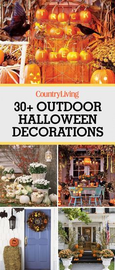 These outdoor Halloween decorations will trick (or treat! Our cheap DIY Halloween yard decor ideas are sure to put a spell on them, from spooky door decorations to creatively carved pumpkins! Halloween Outside, Outdoor Halloween, Easy Halloween, Holidays Halloween, Halloween Crafts, Halloween Magic, Halloween Porch, Halloween 2018, Halloween Stuff