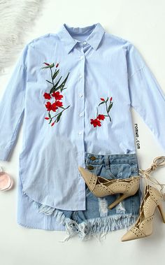 Fashion Item - Embroidery This Blue Stripe Embroidery High Low Split Side Shirt Dress has soft material and chic style. Latest Street Fashion, Fast Fashion, Fashion 2017, Girl Fashion, Fashion Outfits, Shirt Embroidery, Embroidery Fashion, Vintage Embroidery, Embroidered Clothes