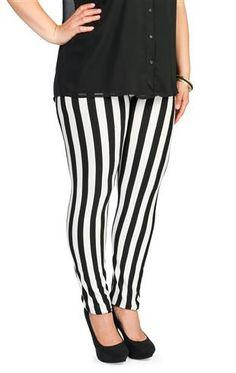 Torrid Plus Size Black & White Vertical Striped Leggings   Plus ...