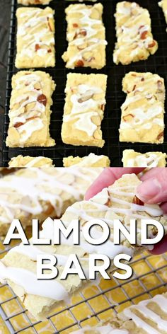This Almond Bars recipe is a sweet treat that has a shortbread-like texture and a delicious almond glaze on top! Youll want to make extra and freeze them for later! Easy Baking Recipes, Sweets Recipes, Cookie Recipes, Halal Recipes, Dinner Recipes, Holiday Desserts, Easy Desserts, Almond Bars, Puff Pastry Recipes
