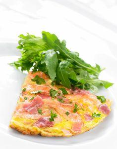 Omelett med laks og spekeskinke