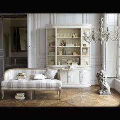 Banco de 2/3 plazas de lino blanco y gris claro