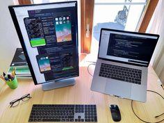 Vertical Monitor Coding Setup By Milad Atefi – MinimalSetups Home Office Setup, Office Workspace, Home Office Design, Computer Desk Setup, Gaming Setup, Computer Rooms, Small Computer, Gaming Rooms, Clever Gadgets