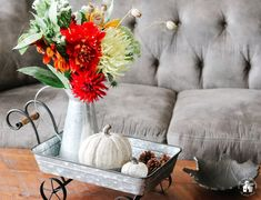 It's Fall, and I'm sharing 12 Fall Coffee Table Tray Decor Ideas that I hope will inspire you in your fall decorating. Metal Pumpkins, Velvet Pumpkins, Glass Pumpkins, Small Wooden Tray, Wooden Bird, Coffee Table Tray, Coffee Table Design, Decorative Spheres, Tray Decor
