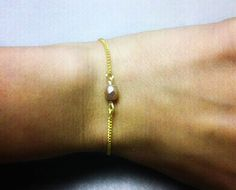 Delicate Gold & Metallic Rose Bracelet by OneSEC on Etsy, $6.50