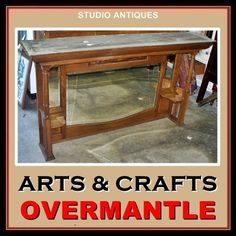 OVERMANTLE-Antique-OAK-FIREPLACE-OVERMANTEL-Mirrors-ARTS-CRAFTS-Over-Mantel