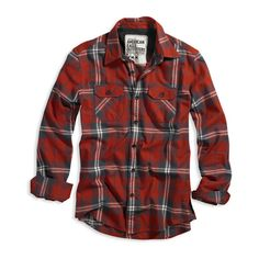 Eagle Flannel ❤ liked on Polyvore featuring tops, shirts, men, flannels, button-front shirt, long flannel shirts, red shirt, tartan flannel shirt and flannel shirt