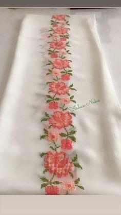 The Most Beautiful Cross Stitch Pattern Cross Stitch Rose, Cross Stitch Borders, Modern Cross Stitch Patterns, Cross Stitch Flowers, Cross Stitch Designs, Cross Stitching, Hand Embroidery Designs, Ribbon Embroidery, Cross Stitch Embroidery