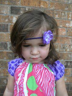 Purple Addison Satin Flower on 1/8 in purple by lilibirdbowtique, $7.25