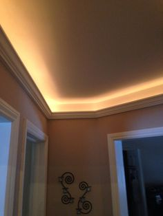 Lighting in soffits we built soffit with crown molding and rope cove lighting crown molding adhered to 1x1 with rope lighting aloadofball Choice Image