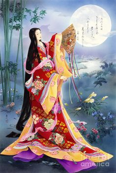 Komachi Painting of a woman dressed in junihitoe.