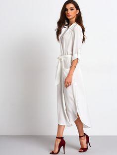 White Belted Side Split Shirt Dress | MakeMeChic.COM Mobile Site
