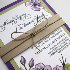 Love the band and twine :)   Purple and Green Floral Wedding Invitation Set - with Belly Band  by Shanon Medley Designs, via Flickr