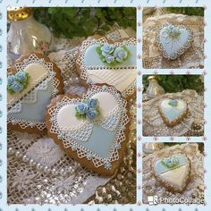 Intricately hand piped gingerbread keepsake heart cookies