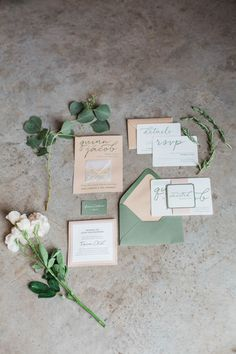 Simple wedding invitation suite idea - green + beige invitations with modern calligraphy {Conforti Photography LLC}