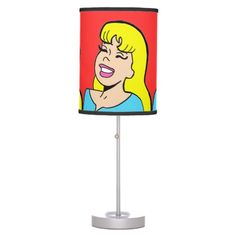 Blonde Bombshell Comic Strip Table Lamp--#lamp #decor #teenbedroom #tweenbedroom #cartoon #comics #popart #Zazzle