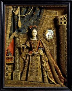 Paper Embroidery Panel with Queen Anne wax and paper figure, 1705 – England. © Victoria and Albert Museum, London - Folk Embroidery, Paper Embroidery, Embroidery Transfers, Learn Embroidery, Vintage Embroidery, Embroidery Patterns, Jacobean Embroidery, Hungarian Embroidery, Embroidery Stitches