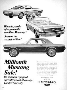 1966 Ford Mustang original vintage advertisement. Photographed in black & white. Celebrating the fastest vehicle model ever to sell 1 million units. Specially equipped Coupes, Convertibles and Fastbacks were placed on sale in thanks by Ford.