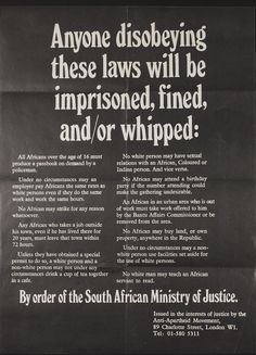 Poster made by the Anti-Apartheid Movement in the United Kingdom highlighting the discrimination of the apartheid system.    It was introduced by by DF Malan's Herenigde Nasionale Party (HNP – 'Reunited National Party') in 1948 and lasted until the end of FW De Klerk's government in 1994.