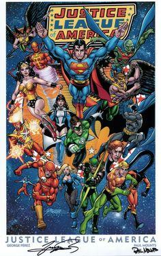 Comic Book Superheroes, Dc Comic Books, Comic Book Covers, Universe Art, Comics Universe, Justice League Pictures, Superhero Images, George Perez, Western Comics