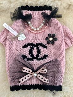 Sweater, Hat & HairBow in Vintage Pink, Peach & Ivory. Lacce frilled Sweater with Teddy and Snowflakes, Bead and - Salvabrani Crochet Dog Clothes, Crochet Dog Sweater, Sweater Hat, Dog Clothes Patterns, Cat Sweaters, Puppy Clothes, Pet Costumes, Animal Fashion, Dog Dresses