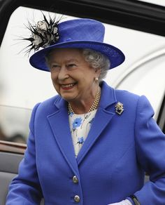 June 1, 2012 Queen Elizabeth II arrives during the Investec Derby, at the start of the weekend marking the Queen's Diamond Jubilee celebrations, at Epsom Racecourse on June 02, 2012 in Epsom, England.