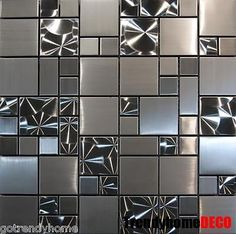 Details about SAMPLE- Unique Stainless Steel Pattern Mosaic Tile Kitchen Backsplash Bath wall Beadboard Backsplash, Herringbone Backsplash, Mosaic Backsplash, Mosaic Tiles, Backsplash Ideas, Tiling, Wall Tiles, Travertine Backsplash, Mirror Backsplash