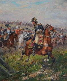 France's Marshal Ney leading yet another cavalry charge.  Some accounts say Ney led as many as ten charges, having five horses shot out from under him.  He survived Waterloo, only to be executed by firing squad by his own government.
