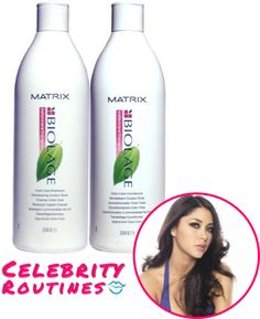[I use] Matrix color treated hair shampoo and conditioner to help with the upkeep of my color which i like to change in different shades of brown often. http://celebrityroutines.com/arianny-celeste/