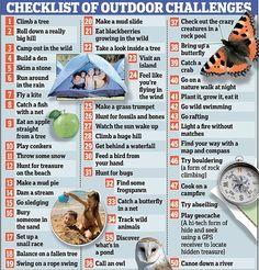 Checklist of fun Outdoor Challenges