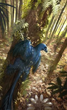 The Microraptor skeleton as imagined with feathers.  A reach to find an evolutionary connection to dinosaurs.