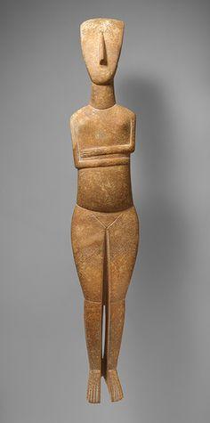 Standing female figure, c. 2600-2400 b.c., early cycladic, marble