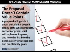 Project management mistakes: The Proposal Doesn't Contain Value Points