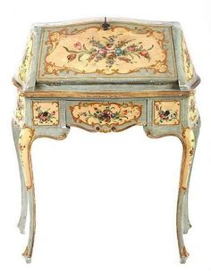 19th century painted desk, Italy: