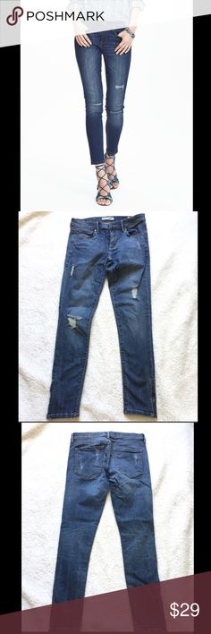 """BR skinny ankle jeans Distressed, ankle skinny jeans with zippers on the side at the bottom, have some stretch, super cute on.  Inseam is 27"""". Only worn a couple of times Banana Republic Jeans Ankle & Cropped"""